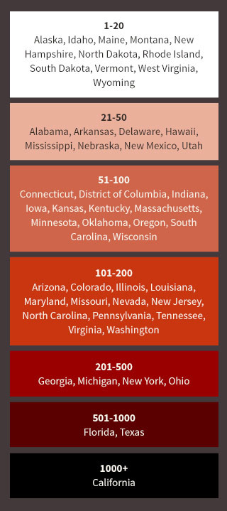 Map of states with the most to the least cases of trafficking reported to the National Human Trafficking Hotline.