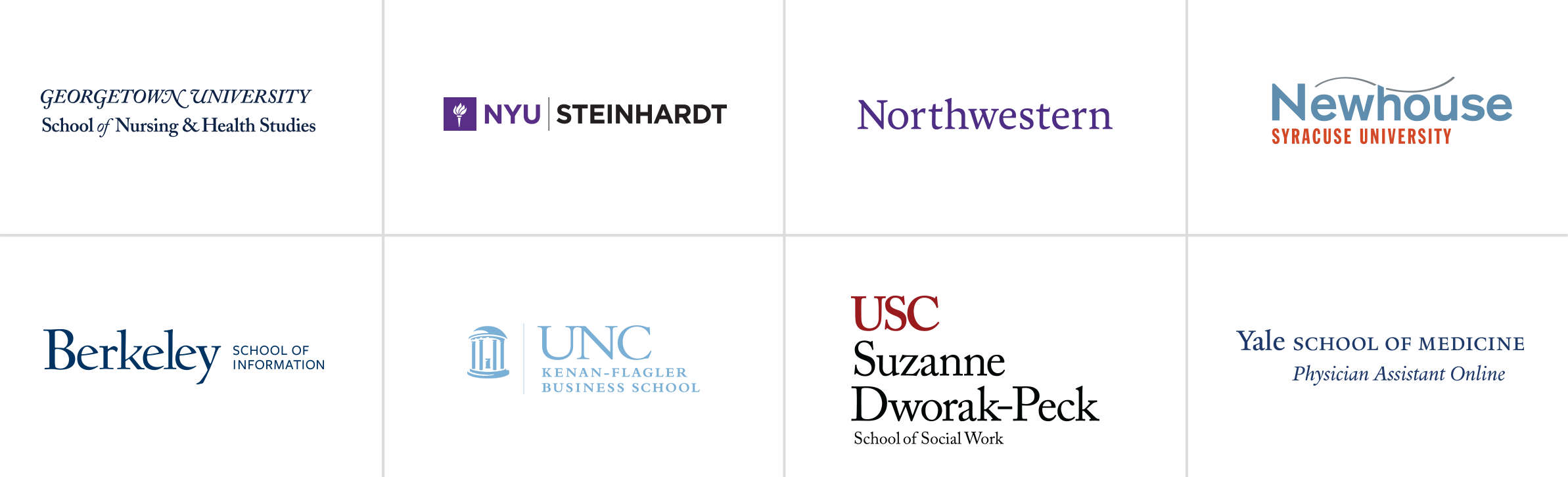 Logos for Georgetown, NYU, Berkeley, UNC Chapel Hill, Northwestern
